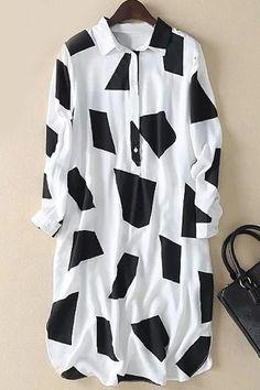 Stylish Long Sleeve Geometric Pattern Color Block Shirt Dress For Women