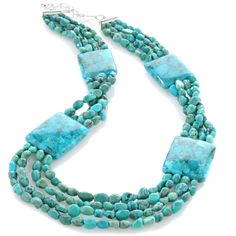 "Jay King Anhui Turquoise 4-Strand 20""  Necklace. While the nuggets look like real turquoise the 4 squares look like composite material."