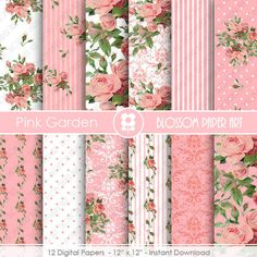 Pink Roses Digital Paper, Shabby Chic Pink Scrapbook Digital Paper Pack, Wedding Roses, Pink, Green - INSTANT DOWNLOAD