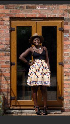 Alama African print Skirt// African Street Style, African Print Skirt, Printed Skirts, Summer Dresses, Hats, Fashion Tips, Patterned Skirt, Summer Sundresses, Sundresses