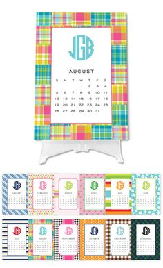 Preppy Desk Top Calendar