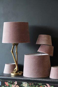 Champagne Pink Sumptuous Velvet Lamp Shade - Available in 3 Sizes #velvet #pinkinterior #flamingo #pink #brass #livingroom #decor