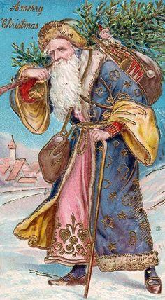 Vintage santa carries tree and presents