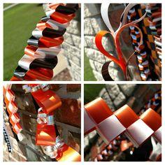 Designed by Crafty bug... Homecoming mum braids. Orange black and white ribbons.