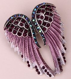 Angel Wings Crystal Brooch Pin