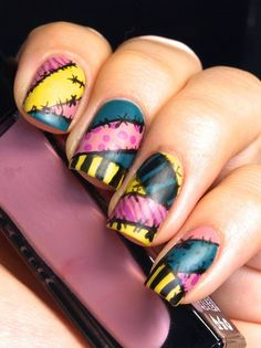 Celebrate your Nightmare Before Christmas love this Halloween with this rad nail art.