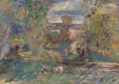 Jan Cybis Na łące- Skoki, 1954 r. olej, płótno, 46 × 62 cm sygn. l. d.: Jan Cybis na krośnie napis ołówkiem J. Cybis Na łące – Skoki 1954