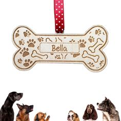 Wooden Dog Bone Pet Sign Personalised With Your Dogs Name - Custom Made Engraved
