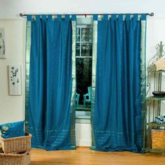 LinedTurquoise Tab Top Sheer Sari Curtain  Drape  80W x 108L  Piece -- Click image for more details. (This is an affiliate link and I receive a commission for the sales)