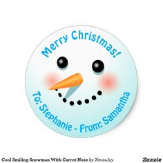 Cool Smiling Snowman With Carrot Nose Classic Round Sticker