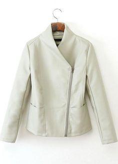 White Long Sleeve Zipper PU Leather Jacket - Sheinside.com