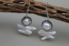 Long Dangle Real Freshwater pearl earrings White round pave