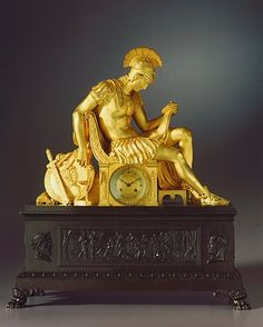 KIKA MULITZ LIVNO: Restauration period gilt bronze mantle clock by Louis-Stanislas Lenoir-Ravrio