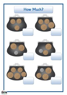 Each purse contains coins. Pupils add up the amounts and write the answers in the boxes provided. Mixed coins (1p, 2p and 5p) going up to 10p total.
