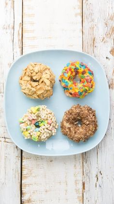 You no longer have to choose between cereal and donuts. Make donuts officially a breakfast food by smothering them in your favorite cereals!