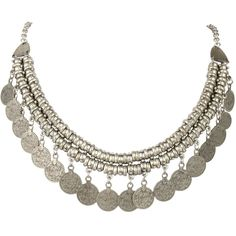 """JoinMe Women's Tribal Carved Figure Coin Cameo Statement Collar Necklace Antique Silver-Tone 24"""""""