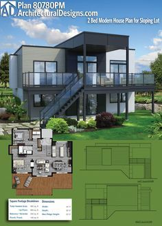 Beautiful Architectural Designs Modern House Plan 80780PM Gives You 2 Beds, 1 Baths,  And Has