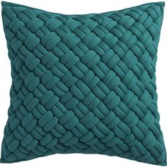 """jersey interknit green/teal 20"""" pillow with feather insert cb2"""