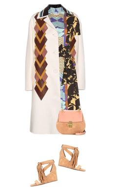 """Crazy Prints And Leather Trimmed Coat"" by hollowpoint-smile ❤ liked on Polyvore featuring Miu Miu, Etro, Chloé, women's clothing, women, female, woman, misses and juniors"