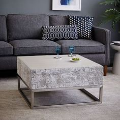 http://www.cadecga.com/category/Coffee-Table/ Concrete + Chrome Coffee Table #westelm 30x sq x 17h $799                                                                                                                                                      More