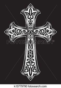 antigüedad, cristiano, cruz, vector Ver  Clip Art Gráficos en Grande