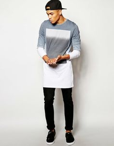 Miss Rich: Mens Longline Tee Trend Swag Style, My Style, Urban Fashion, Mens Fashion, Fashion Trends, Moda Blog, Masculine Style, Men's Wardrobe, Stylish Men