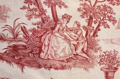 Vintage French Toile de Jouy Fabric Upholstery Weight Red Material Linen Cotton | eBay