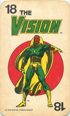 Vintage 1978 Marvel Comics Superheroes Card Game | Vision