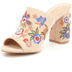 Aldo Yaessi Floral-Embroidered Mules (£80) ❤ liked on Polyvore featuring shoes, mule shoes, aldo, aldo shoes and aldo footwear