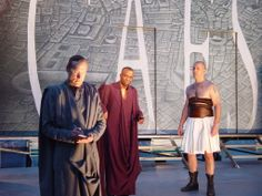 James Carpenter as Cassius, L. Peter Callender as Caesar, and Andy Murray as Mark Antony in Julius Caesar, 2003. #calshakes40th