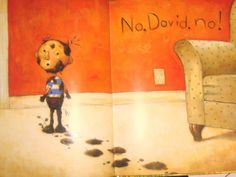 This pin shows the plot in the book No David. David gets in trouble all the time, this book can be important to teach children good behavior and how to obey adults.