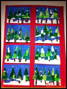 Apex Elementary Art: Winter Trees with tissue paper and hole punched snowflakes (kindergarten art projects) Kids Crafts, Winter Crafts For Kids, Art For Kids, Christmas Art Projects, Winter Art Projects, 2nd Grade Christmas Crafts, Holiday Crafts, Kindergarten Art, Preschool Art