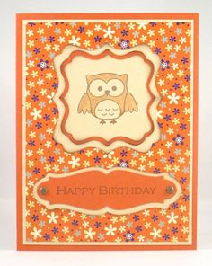 Handmade Owl Birthday card.