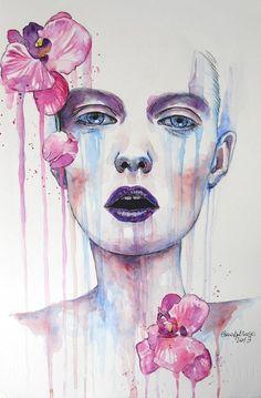 watercolour portrait.