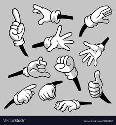 Cartoon hands with gloves icon set isolated vector image on VectorStock Cartoon Legs, Cartoon Gloves, Cartoon Body, 1930s Cartoons, Vintage Cartoons, Old School Cartoons, Animation Reference, Art Reference Poses, Hand Reference