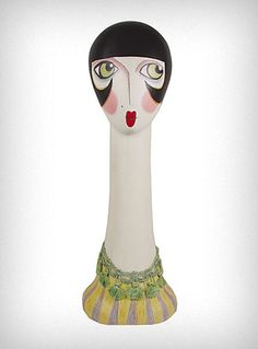 vintage inspired cast resin mannequin head is handpainted with a look inspired by the big-eyed art of the 1960's