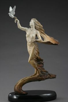 """On Wings of Hope by Martin Eichinger (born 1949)    This exquisite bronze sculpture is a prayer, carried by wings, giving flight to a dream of peace and freedom. Its creator is deemed one of the few """"Living Masters"""" by the Art Renewal Center."""
