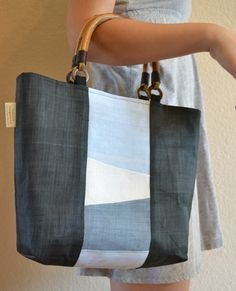 Blue moshi bojagi tote by Youngminlee on Etsy. Soothing colors and large patches