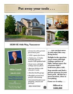 Real Estate for Sale at $400,000! Come and view this spacious four bedroom, two bath, 1956 square foot two story Hiddenbrook Terrace home with a great room on a private .14 acre corner lot with a fenced back yard located at 18209 SE 44th Way, Vancouver, Washington 98683 in Clark County area 27 which is the Fishers Landing area in Vancouver. The RMLS number is 18472843. It does not have a fireplace nor is it considered to be a view home. It was built in 2002 and has an attached two car…