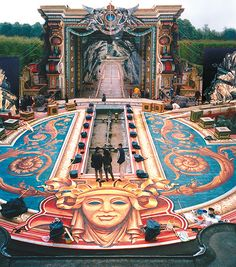 working on one of the extravagant sets for 'Vatel' 2000 and ~English language film about the French court of Louis XIV the Sun King