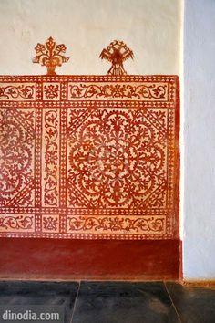 Mural in Archipiscopal palace in sixteenth century ;  Old Goa ; Velha Goa ; India