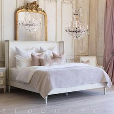 Eloquence® Cassia King Bed in Antique White with Gold Leaf Finish and Ivory Velvet from Full Bloom Cottage