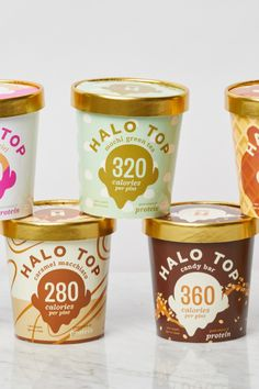 Halo Top is releasing some glorious new concoctions, including Pancakes and Waffles, Mochi Green Tea, Cinnamon Roll, Candy Bar and Caramel Macchiato. Low Cal Ice Cream, Protein Ice Cream, Vegan Protein Bars, Healthy Ice Cream, Ice Cream Flavors, High Protein, Halo Top Flavors, Ice Cream Companies, Waffle Toppings