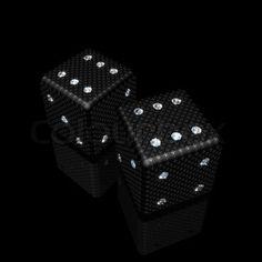 pair of black dice with sparkles diamonds