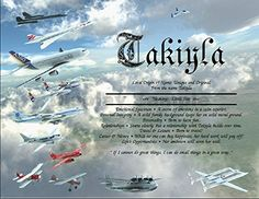 """Famous Flying Machines - Personalized ANY First Name Meaning Keepsake Print 8.5"""" x 11"""" 