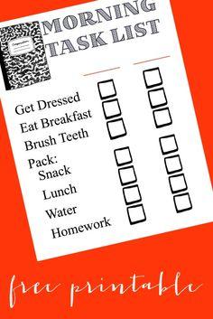 Morning Task List Free #Printable