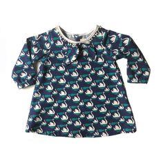 Supayana swan print long sleeve dress for girls