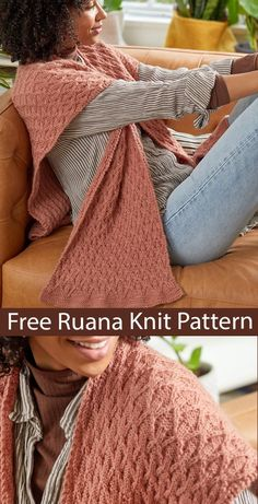Free Shawl Knitting Pattern Embossed Ruana - Poncho wrap with squared back, open sides, and divided front knit with 12 row repeat stitch. Designed by Tori Gurbisz for Premiere Yarns. Worsted weight yarn. Lace Knitting, Knitting Stitches, Knitting Needles, Knitting Patterns Free, Knit Patterns, Stitch Patterns, Knit Crochet, Knitted Shawls, Knitting Projects