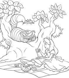 alice in wonderland drink tea coloring page