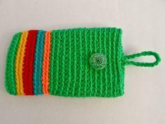 Phone Holder - Stripy Green Phone Holder, Knitted Hats, Beanie, Knitting, Bobs, Crochet, Green, Tricot, Breien